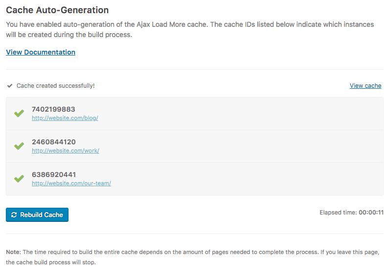 Auto-generate Ajax Load More Cache admin screen