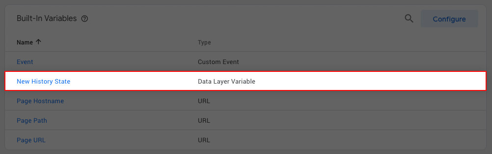Tag Manager Variable Listing