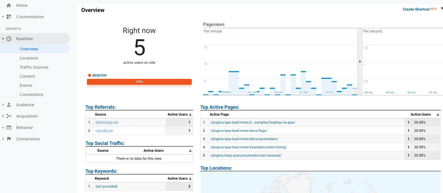 Google Analytics Realtime Live View
