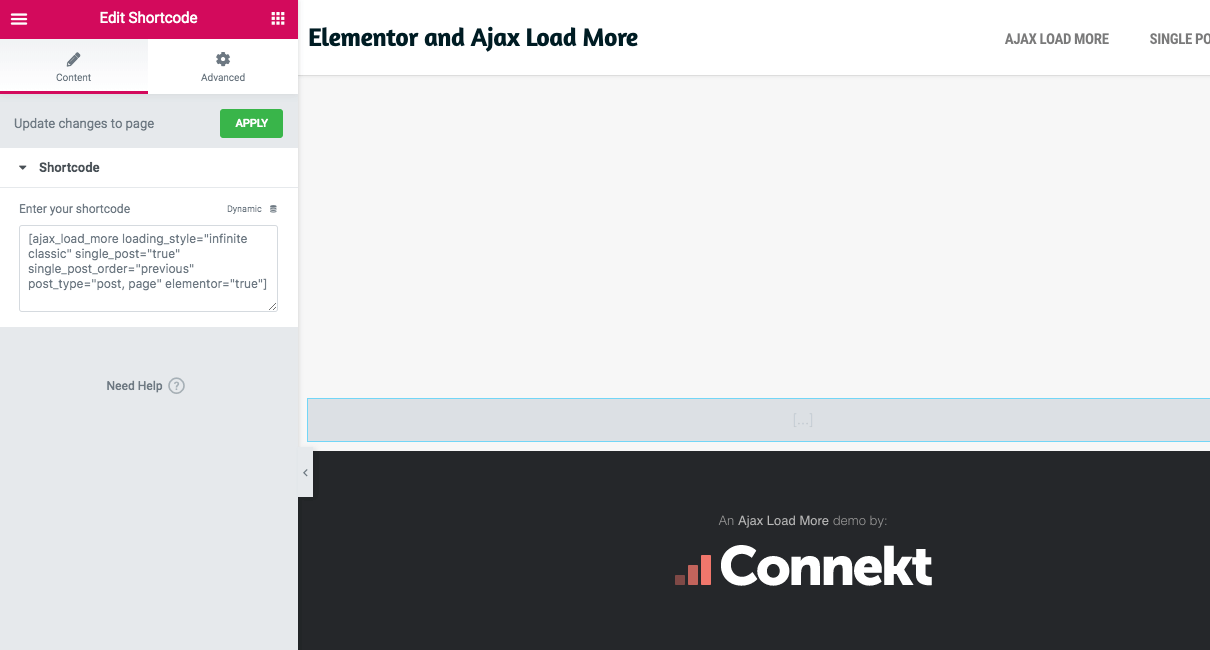 The Ajax Load More shortcode inside the Elementor Shortcode Widget