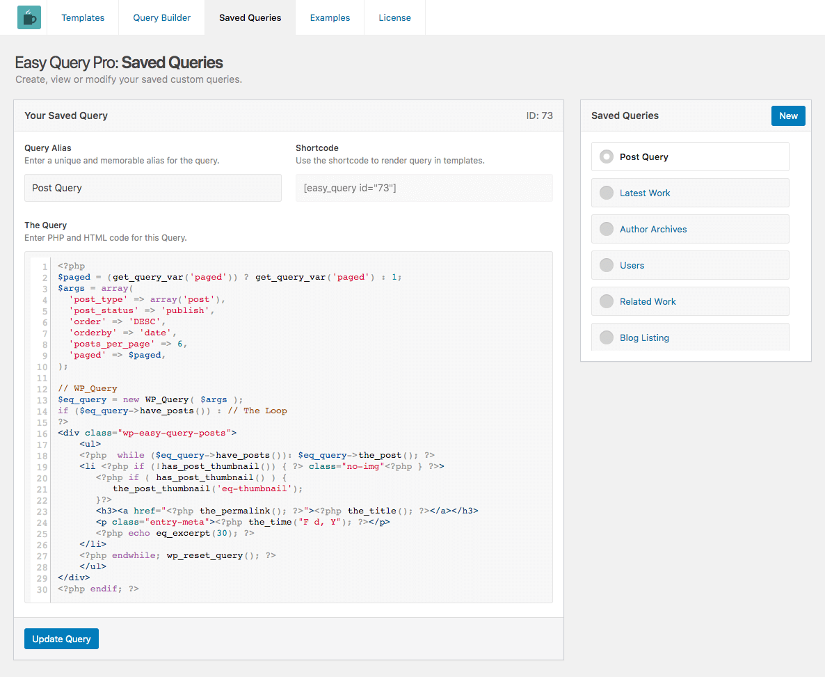 The Easy Query Pro - Saved Query Administration Panel