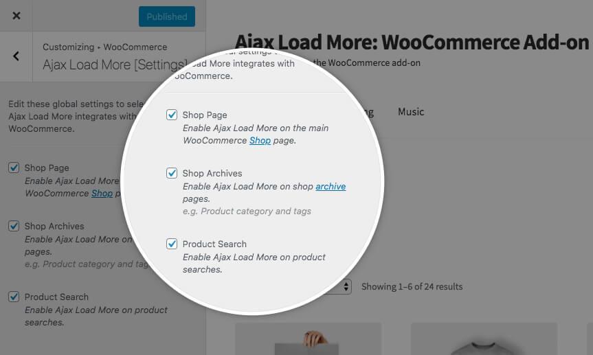 Ajax Load More Customizer Settings
