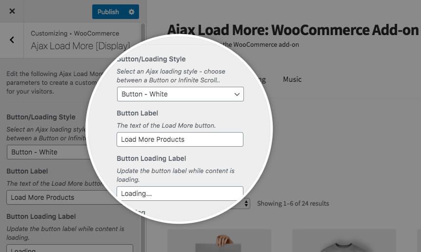 Ajax Load More Customizer Display Settings