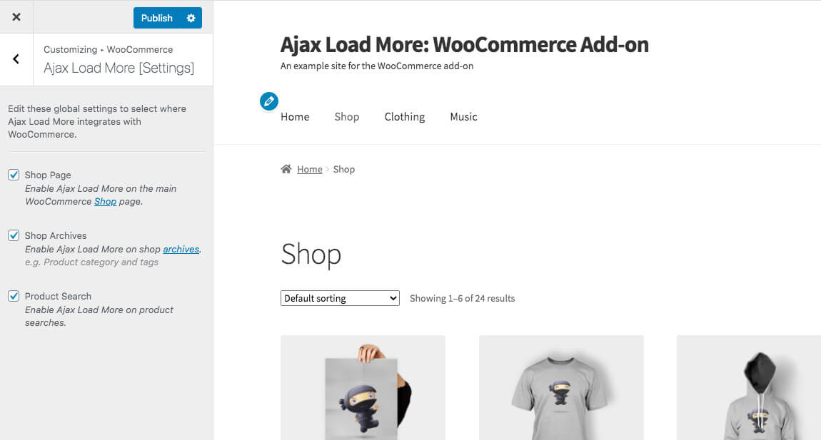 Ajax Load More WooCommerce Customizer Options
