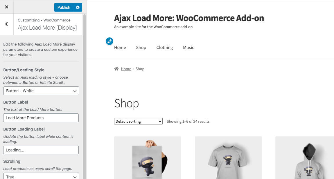 Ajax Load More WooCommerce Customizer Display Options